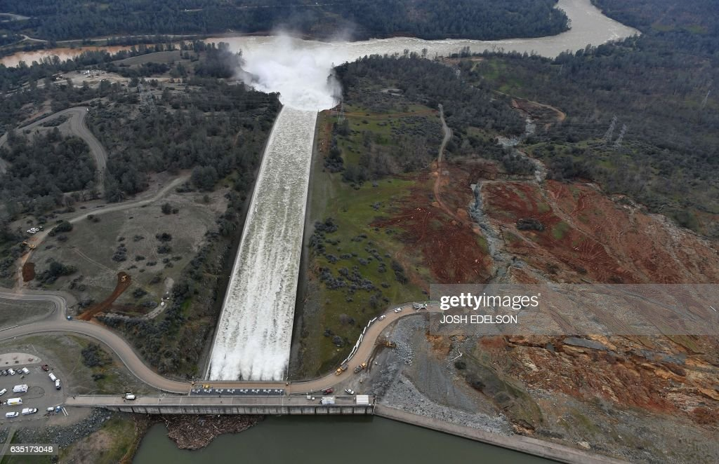 The Oroville Dam spillway releases 100,000 cubic feet of water per