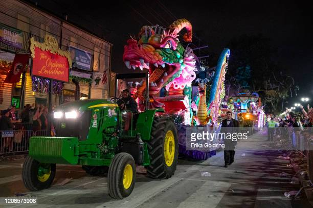The Orpheus Leviathan a signature float in the 2020 Krewe of Orpheus parade rolls down Napolean Avenue in three pieces on February 24 2020 in New...