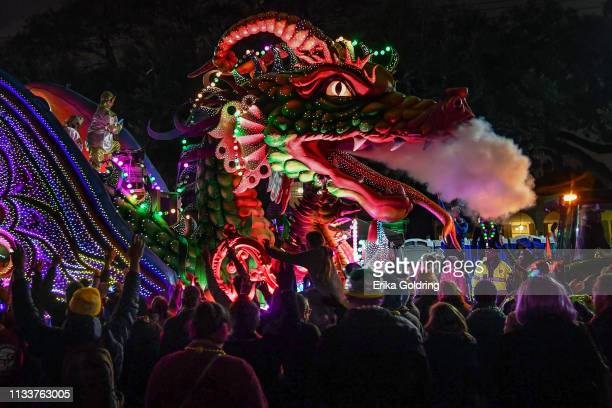 The Orpheus Leviathan float with smoke and fiber optic lights rolls down Napolean Avenue in the 2019 Krewe of Orpheus Parade on March 4 2019 in New...
