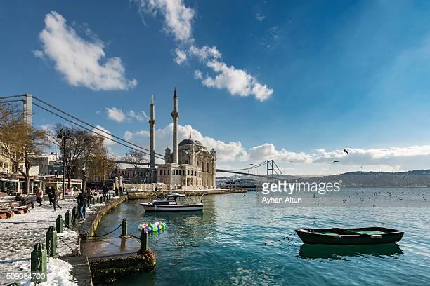 The Ortakoy Mosque and Bosphorus Bridge in Besiktas in Istanbul,Turkey