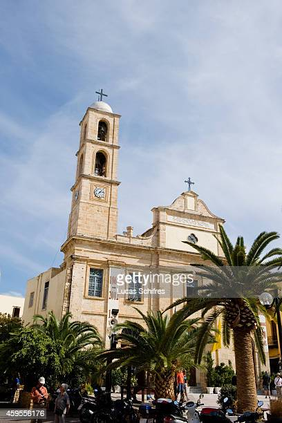The orthodox cathedral of Chania on October 29 2013 in Chania Crete Greece Crete is the largest of the Greek islands the fifthlargest island in the...