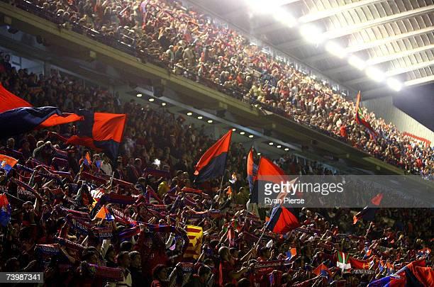 The Osasuna crowd cheer after a goal during the UEFA Cup Semi Final first leg match between Osasuna and Sevilla at the Estadio Reyno de Navarra on...