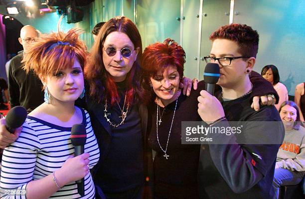 The Osbourne family on TRL at the MTV Studios in New York City Kelly Ozzy Sharon and Jack Osbourne 3/19/02 Photo by Scott Gries/ImageDirect