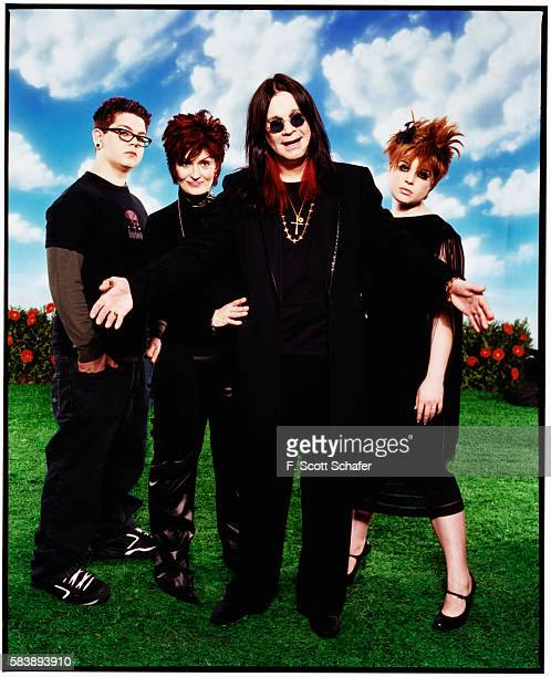 Jack Osbourne, Sharon Osbourne, Ozzy Osbourne, and Kelly Osbourne) are photographed for Blender Magazine in 2002 in Los Angeles, California....