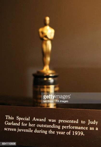 The Oscar given to Judy Garland in 1939 which was for outstanding performance as a screen juvenile seen at the Meet The Oscars Exhibition at the...