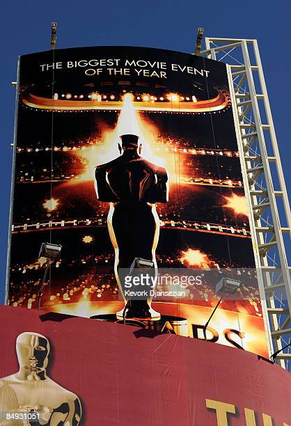 The Oscars poster is displayd during preparations of the 81st Academy Awards in front of the Kodak Theatre on Hollywood Boulevard February 19 2009 in...