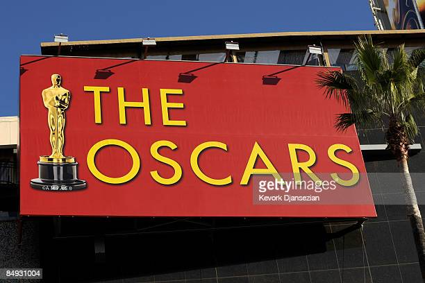 The Oscars sign is displayd during preparations of the 81st Academy Awards in front of the Kodak Theatre on Hollywood Boulevard February 19 2009 in...