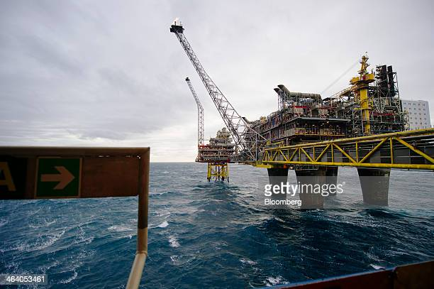 The Oseberg A offshore gas platform operated by Statoil ASA stands in the Oseberg North Sea oil field 140kms from Bergen Norway on Friday Jan 17 2014...