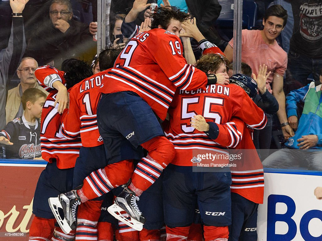 The Oshawa Generals celebrate a victory over the Kelowna Rockets to become the 2015 Memorial Cup Champions at the Pepsi Coliseum on May 31, 2015 in Quebec City, Quebec, Canada. The Oshawa Generals defeated the Kelowna Rockets 2-1 in overtime and become the 2015 Memorial Cup Champions.