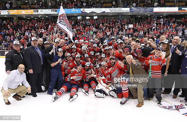The Oshawa Generals celebrate defeating the Erie Otters in Game Five of the OHL Robertson Cup Championship Final at General Motors Centre on May 15,...