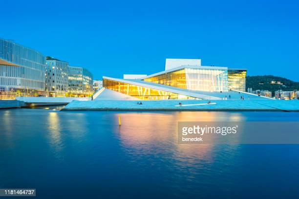 the oslo opera house in downtown oslo norway - oslo stock pictures, royalty-free photos & images