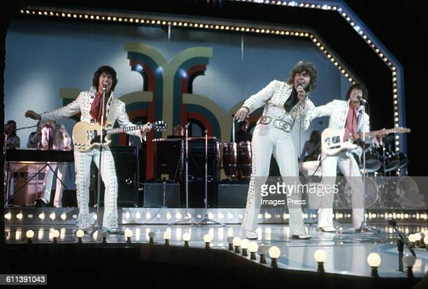 The Osmonds on stage at the London Palladium circa 1973 in London, England.