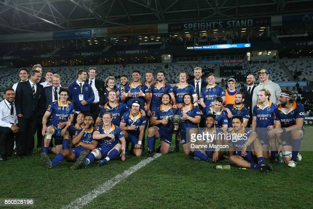 The Otago team pose for a photo with the Lin Colling Memorial Trophy after defeating Auckland in the round six Mitre 10 Cup match between Otago and...
