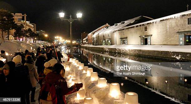The Otaru Canal is illuminated as the Otaru Snow Light Path begins on February 6 2015 in Otaru Hokkaido Japan The night illumination event will be...