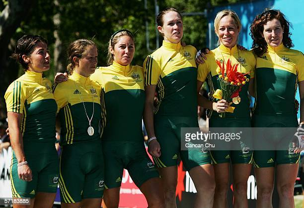 The other Australian competitors join silver medal winner Oenone Wood of Australia and gold medal winner Natalie Bates of Australia on the podium...