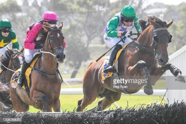 The Other Half ridden by Ronan Short clears a hurdle in the Ocean Road Realty BM120 Hurdle at Warrnambool Racecourse on March 27 2020 in Warrnambool...