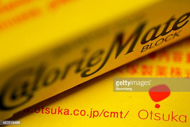 The Otsuka Pharmaceutical Co logo is displayed on a box of the company's Calorie Mate nutritionallybalanced food in this arranged photograph in Tokyo...