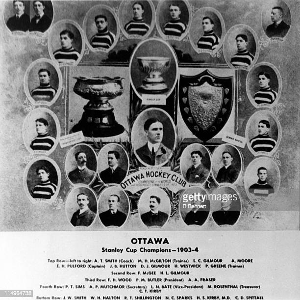 The Ottawa Hockey Club Senators team pose for a portrait circa 1904 after they won the Stanley Cup The players from LR top row Alf Smith Mac McGilton...