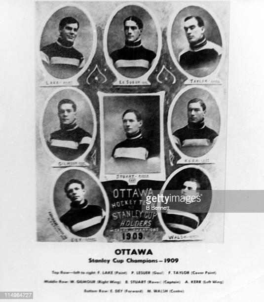 The Ottawa Hockey Club Senators team pose for a portrait circa 1909 after winning the Stanley Cup The players from LR top row Fred Lake Percy LeSueur...