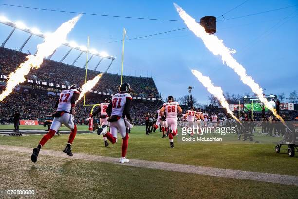 The Ottawa Redblacks come onto the field before the game against the Calgary Stampeders during the Grey Cup at Commonwealth Stadium on November 25,...