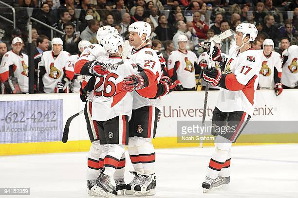 The Ottawa Senators celebrate a goal against the Los Angeles Kings during the game on December 3, 2009 at Staples Center in Los Angeles, California.
