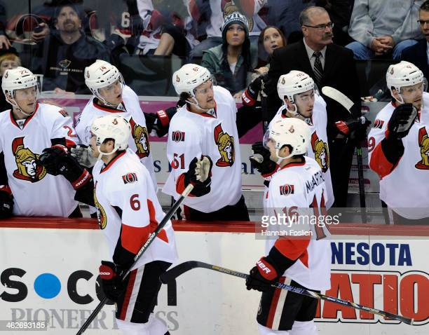 The Ottawa Senators celebrate a powerplay goal against the Minnesota Wild by Clarke MacArthur during the first period of the game on January 14 2014...
