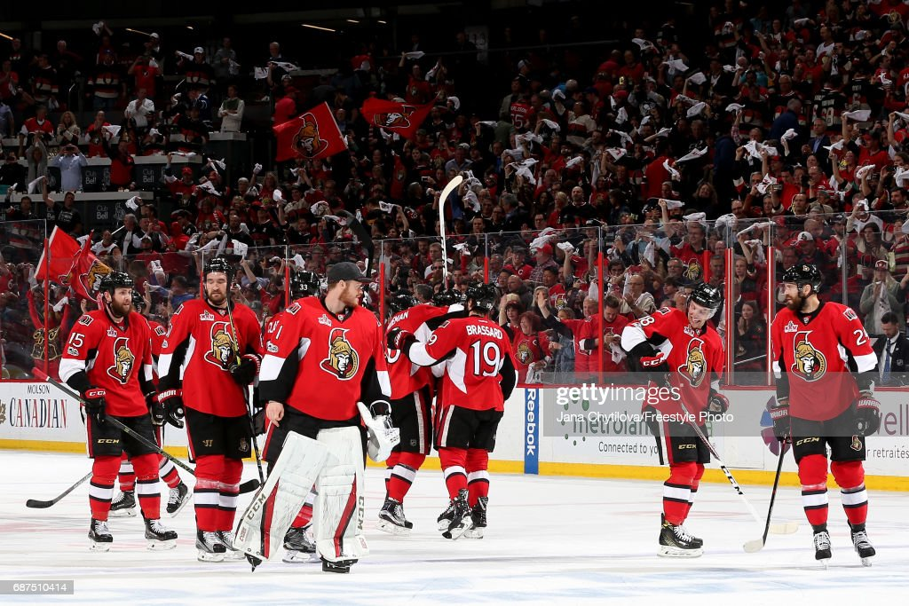 The Ottawa Senators celebrate after defeating the Pittsburgh Penguins with a score of 2 to 1 in Game Six of the Eastern Conference Final during the 2017 NHL Stanley Cup Playoffs at Canadian Tire Centre on May 23, 2017 in Ottawa, Canada.