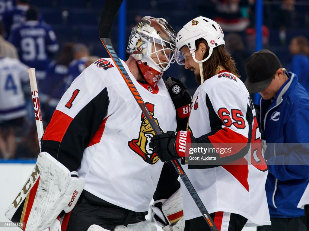The Ottawa Senators celebrate the win against the Tampa Bay Lightning at Amalie Arena on March 13, 2018 in Tampa, Florida.