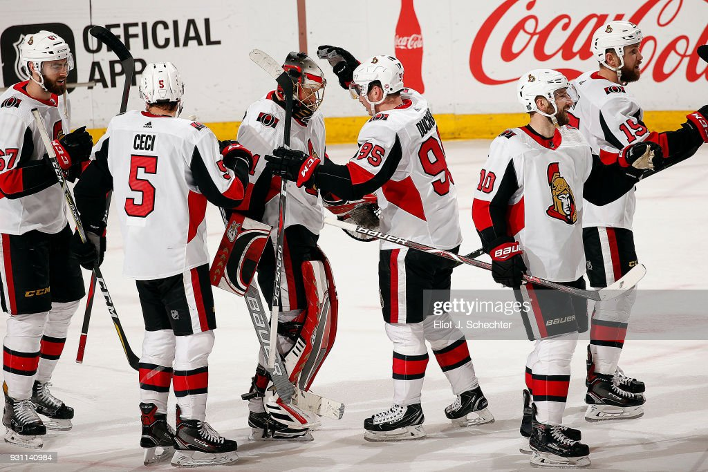 The Ottawa Senators celebrate their 5-3 win over the Florida Panthers at the BB&T Center on March 12, 2018 in Sunrise, Florida.