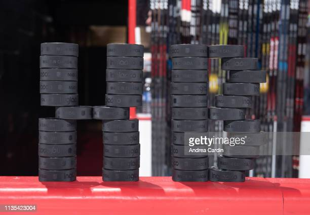 The Ottawa Senators pay tribute to the Humboldt Broncos during warmup prior to a game against the Columbus Blue Jackets at Canadian Tire Centre on...