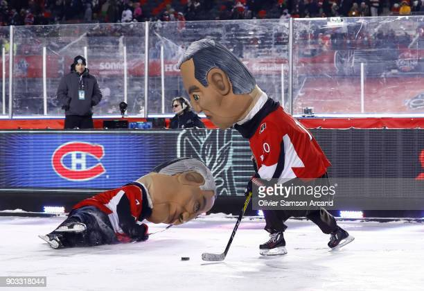 The Ottawa Senators Prime Ministers play a game of hockey on the auxiliary rink during the first intermission of the 2017 Scotiabank NHL 100 Classic...