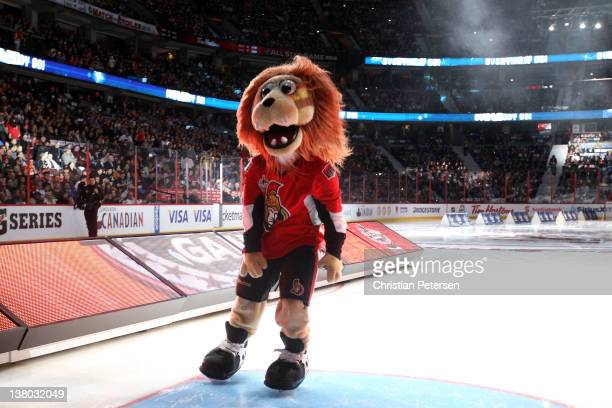 The Ottawa Senators team mascot Spartacat skates on the ice during the 2012 Tim Hortons NHL AllStar Game at Scotiabank Place on January 29 2012 in...