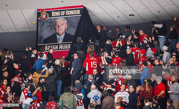 The Ottawa Senators unveil the first Ring of Honour inductee Bryan Murray prior to a game against the Washington Capitals at Canadian Tire Centre on...