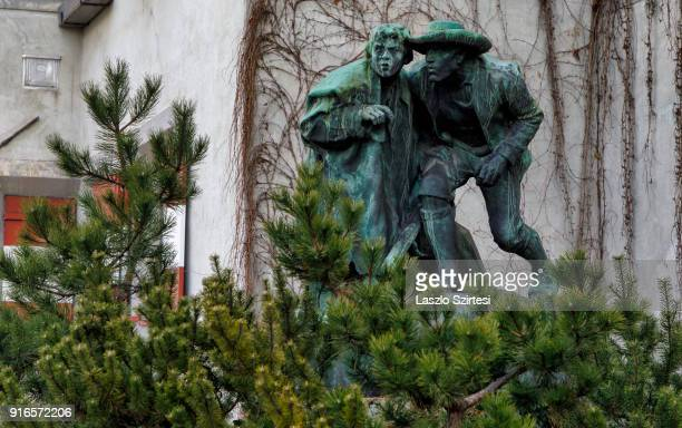 The Ottoburg statues are seen at HerzogFriedrichStraße on January 28 2018 in Innsbruck Austria Two statues are father and son in commemoration of the...