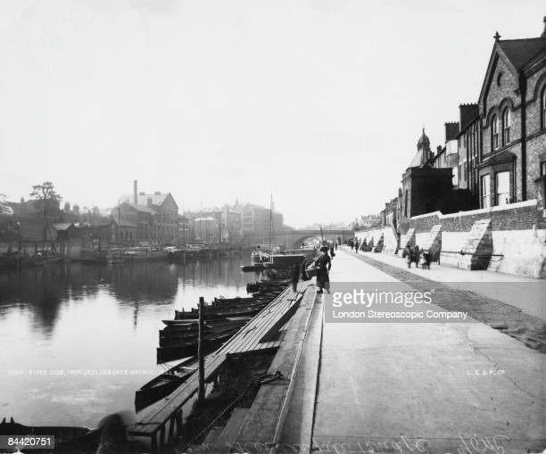 The Ouse Bridge on the River Ouse in York, North Yorkshire, as seen from the Skeldergate Bridge, 1880s.
