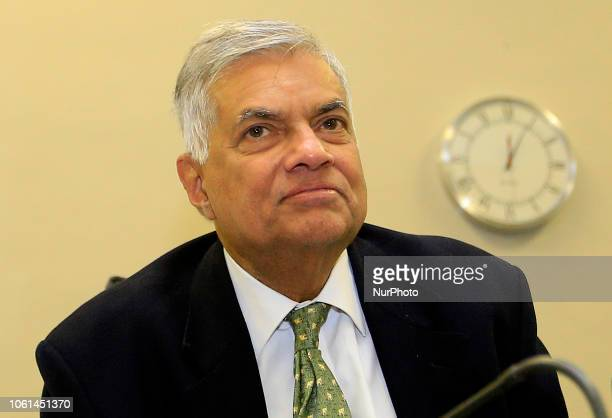 The ousted Sri Lankan Prime Minister Ranil Wickremesinghe is seen during a press conference after attending a special parliamentary session at the...