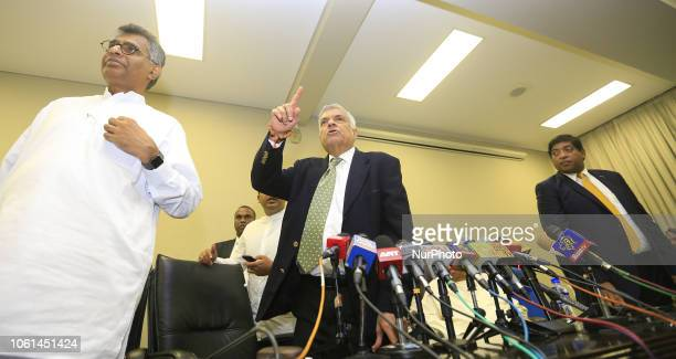 The ousted Sri Lankan Prime Minister Ranil Wickremesinghe is seen during a press conference after a special parliamentary session at the...
