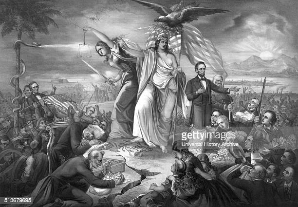 The outbreak of the rebellion in the United States 1861' A grand allegory of the Civil War in America harshly critical of the Buchanan administration...
