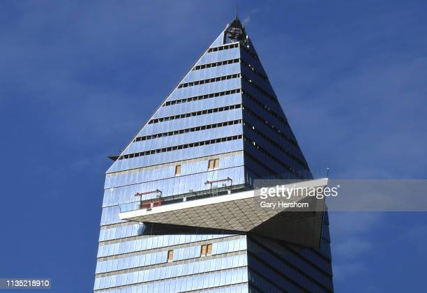 The outdoor observation deck at 30 Hudson Yards called New York Edge protruds from the building on March 11 2019 in New York City