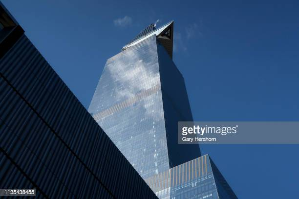 The outdoor observation deck at 30 Hudson Yards called New York Edge protrudes out from the building on March 12 2019 in New York City