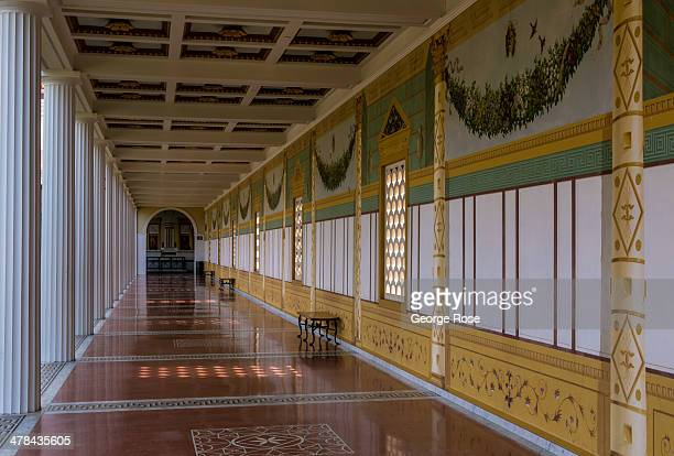 The Outer Peristyle at the J Paul Getty Villa Museum is viewed on March 3 in Malibu California Perched on a hillside above the Pacific Ocean this...