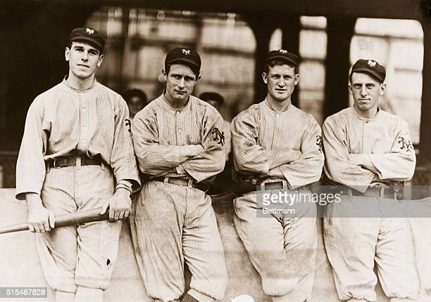The outfield of the 1912 New York Giants, who won the National League Pennant with a record of 103-48 but later lost the World's Series to the Boston...