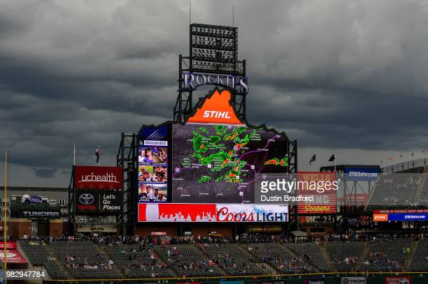 Adam Conley of the Miami Marlins pitches against the Colorado Rockies in the seventh inning of a game at Coors Field on June 24 2018 in Denver...