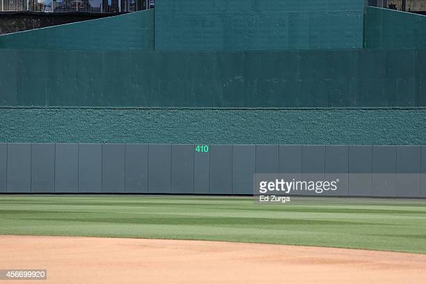 The outfield walls are seen prior to Game Three of the American League Division Series between the Kansas City Royals and the Los Angeles Angels at...