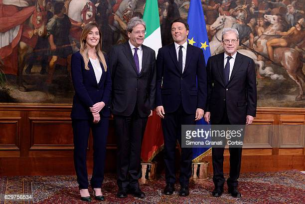 The outgoing Italian Prime Minister Matteo Renzi new Italian prime minister Paolo Gentiloni the new undersecretary to the presidency Maria Elena...
