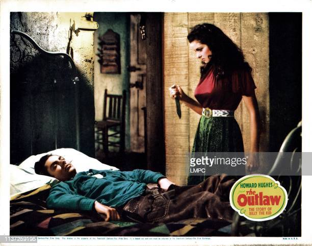 The Outlaw lobbycard from left Jack Buetel Jane Russell 1943