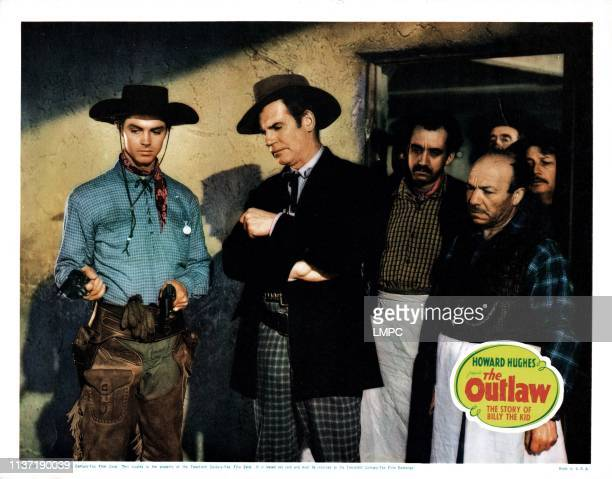 The Outlaw lobbycard from left Jack Buetel Walter Huston 1943