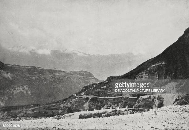 The outlet of Vallarsa towards Rovereto during the Austrian offensive in Trentino Italy World War I from L'Illustrazione Italiana Year XLIII No 23...