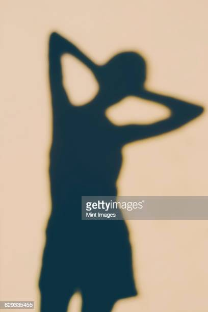 The outline of a human body, a shadow against a plain background, a female shape.
