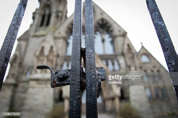 The outside of a church is pictured as schools nonessential shops along with playgrounds and churches are close as part of nationwide measures to...